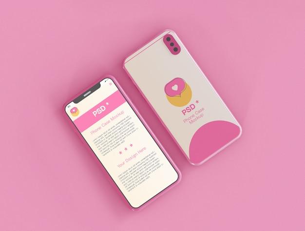 Pantalla de teléfono inteligente y maqueta de estuche