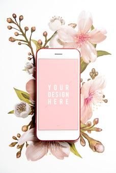 Pantalla de teléfono móvil floral maqueta