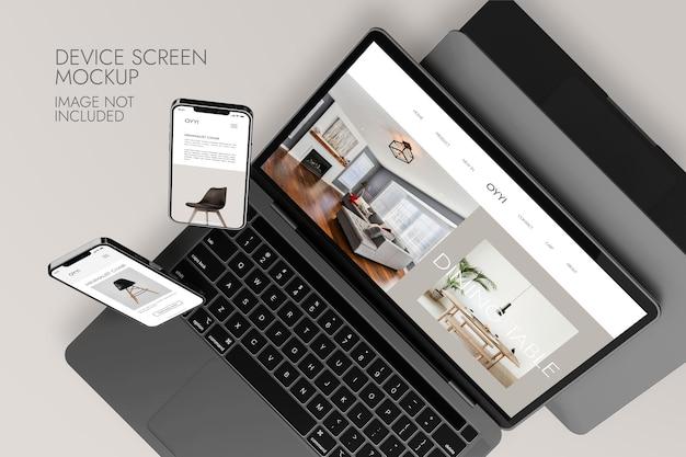 Pantalla de teléfono y portátil: maqueta de dispositivo