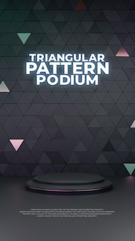 Pantalla triangular del producto podio 3d