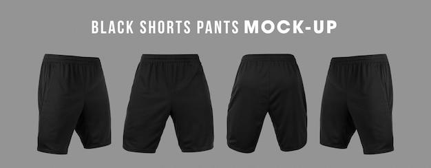 Pantalones cortos negros en blanco pantalón maqueta plantilla