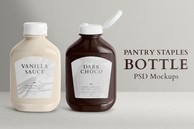 Pantry nietje fles mockup psd met labels
