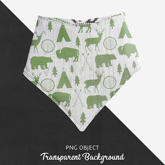 Pañuelo verde estampado para bebé o niños sobre fondo transparente