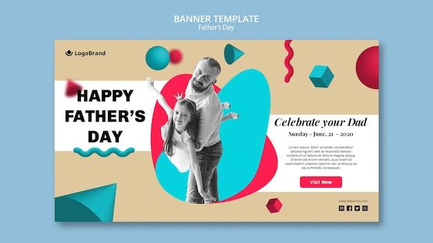 Papá jugando con su hija plantilla del banner del día del padre