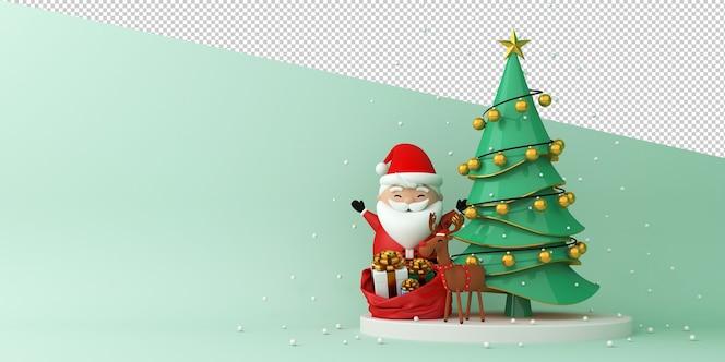 Papá noel y renos junto al árbol de navidad
