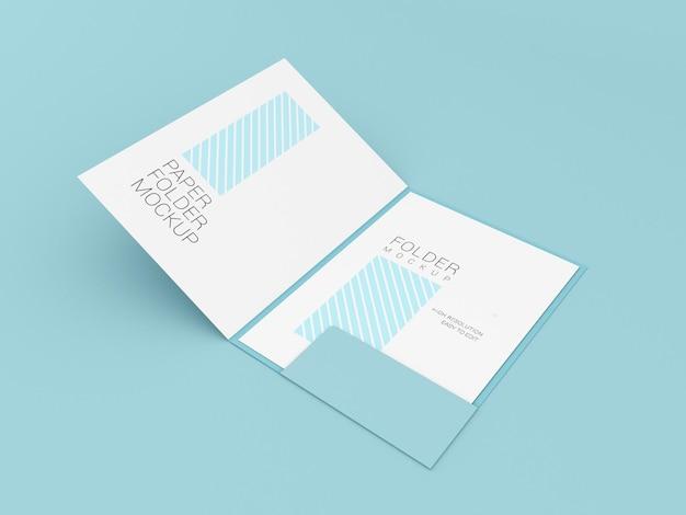 Papel a4 con maqueta de carpeta de presentación.
