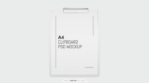 Papel a4 con maqueta psd portapapeles blanco