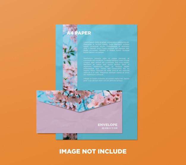 Papel a4 y maqueta de sobre