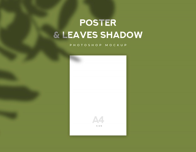Papel de cartel blanco o volante de tamaño a4 y hojas de sombra sobre fondo verde oliva