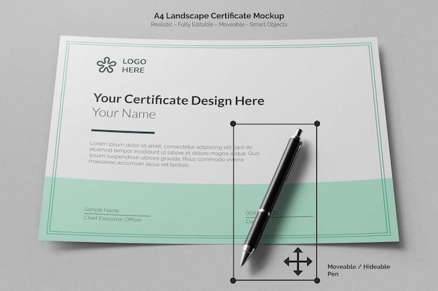 Papel de certificado de educación horizontal limpio a4 con maqueta de bolígrafo de firma móvil