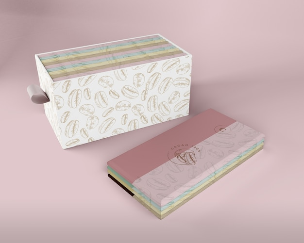 Papel de envoltura de tabletas de chocolate y maqueta de caja