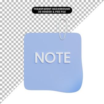 Papel de nota de objeto simple de ilustración 3d con clip de papel