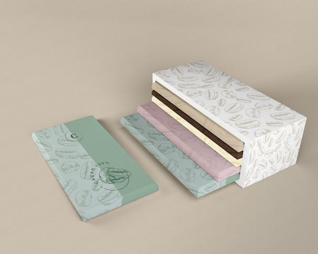 Papel de regalo de chocolate y diseño de caja