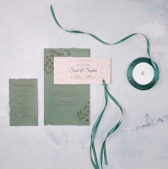 Papelería invitación de boda y cinta