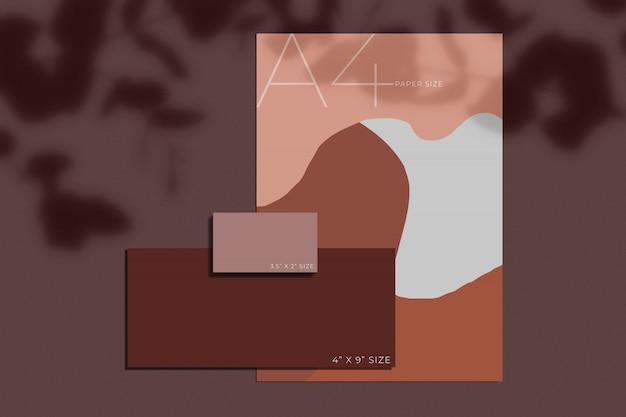Papelería de oficina maqueta de papel con superposición de sombras. plantilla para identidad de marca