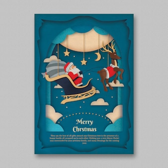 Paper art christmas flyer template