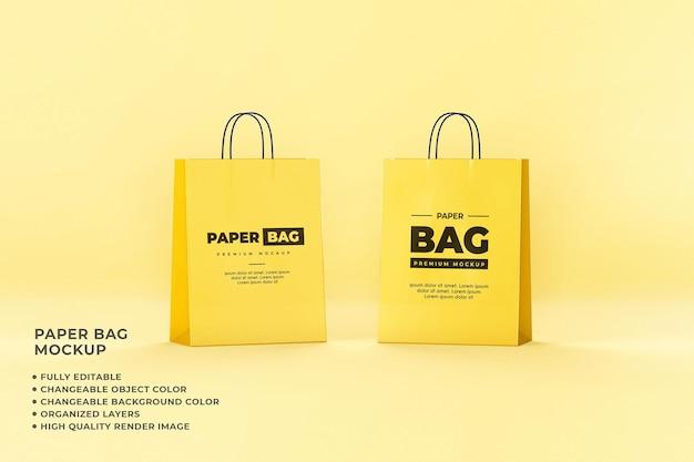 Paper bag mockup shopping verwisselbare kleur volledig bewerkbaar
