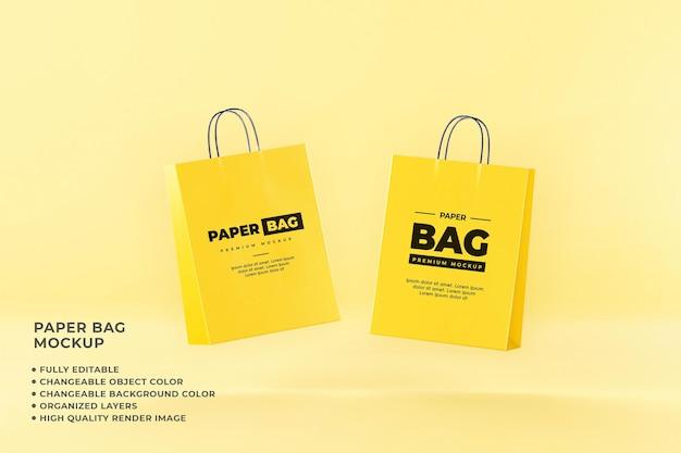 Paper bag mockup shopping volledig bewerkbare veranderlijke kleur
