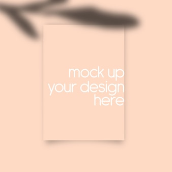 Paper wall art mock up with peach