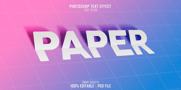 Papier 3d tekststijleffect sjabloonontwerp