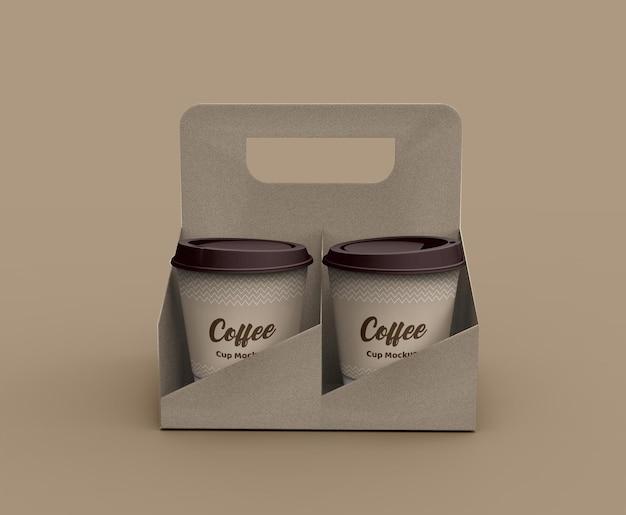 Papier gemaakt koffiekopje mockup met bekerhouder Premium Psd