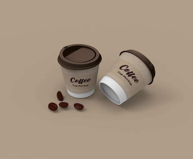 Papier gemaakt koffiekopje mockup met bekerhouder