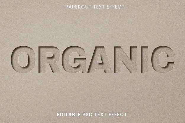 Papier gesneden bewerkbare psd-teksteffectsjabloon