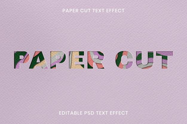 Papier gesneden teksteffect psd bewerkbare sjabloon