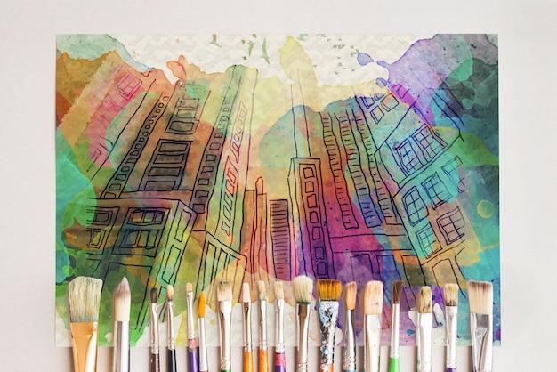 Papier mockup met kunstenaar concept