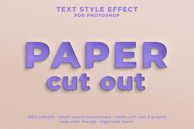 Papier uitgesneden 3d-tekststijl effect psd-sjabloon