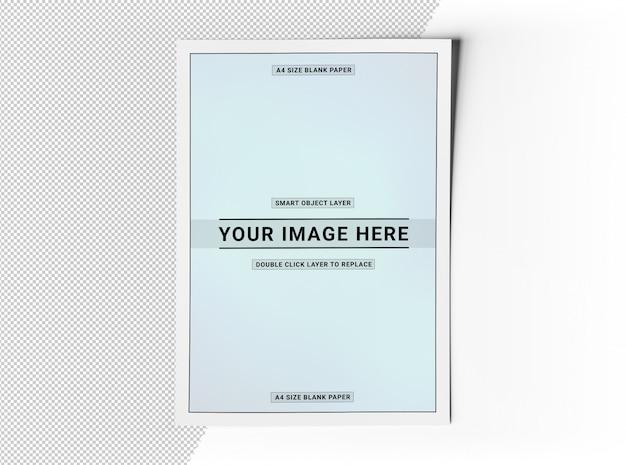 Papier vel flyer uitgesneden op wit oppervlak mockup