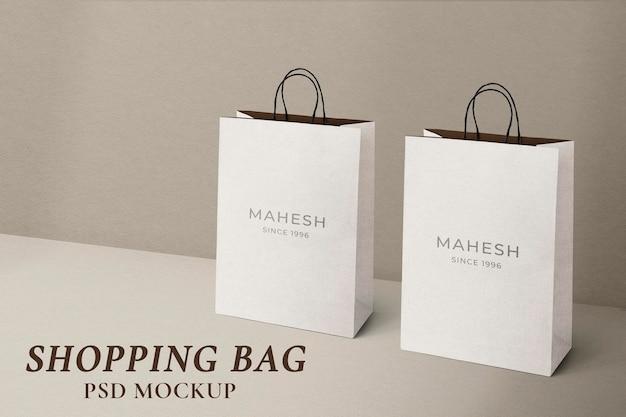 Papieren boodschappentas mockup psd in minimalistische stijl