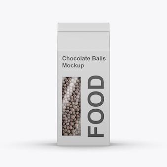 Papieren doos met chocoladeballenmodel