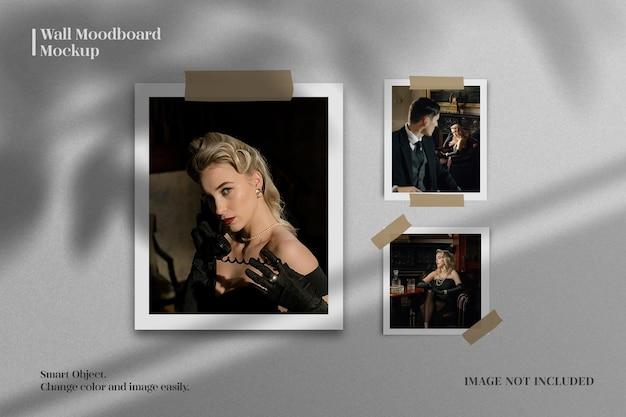 Papieren fotolijst moodboard met realistische schaduw