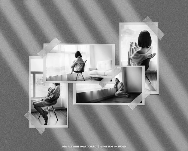Papieren fotolijst polaroid mockup met zwart wit effect sjabloon premium psd