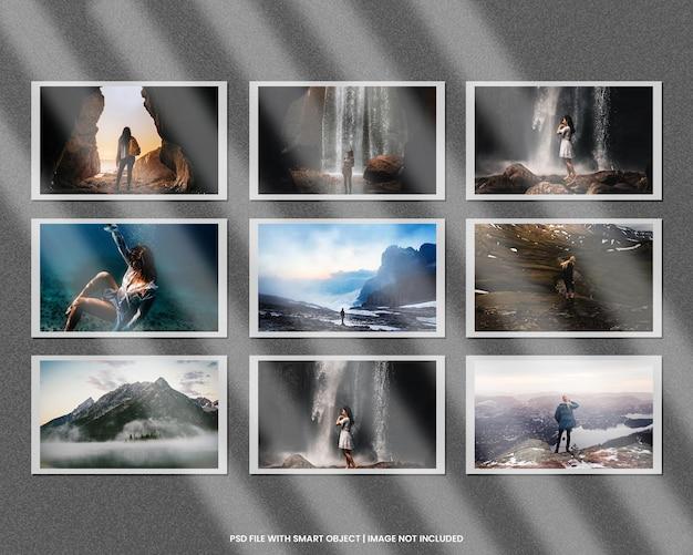 Papieren fotolijst polaroid mockup sjabloon premium psd