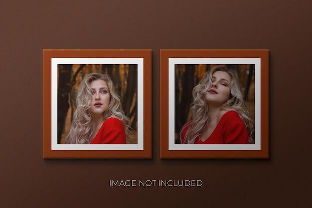 Papieren fotolijstmodel met schaduw psd