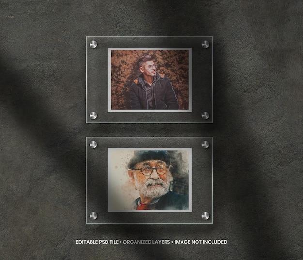 Papieren fotolijstmodel op glasachtergrond