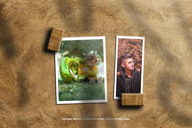 Papieren fotolijstmodel op zandstrand