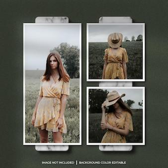 Papieren frame fotomodel met schaduw en marmeren achtergrond