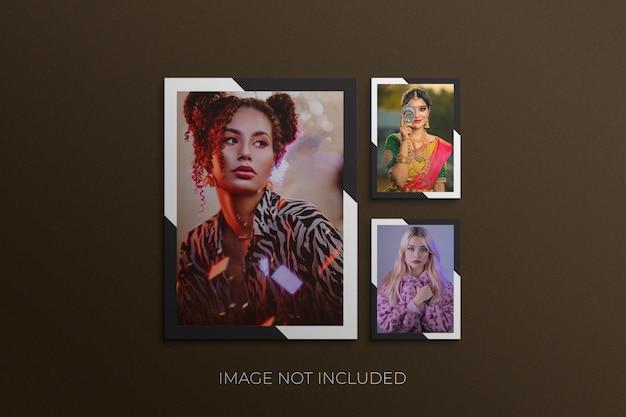 Papieren frame fotomodel premium psd