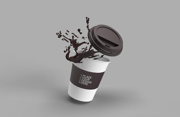 Papieren koffiekopje splash 3d-rendering geïsoleerd