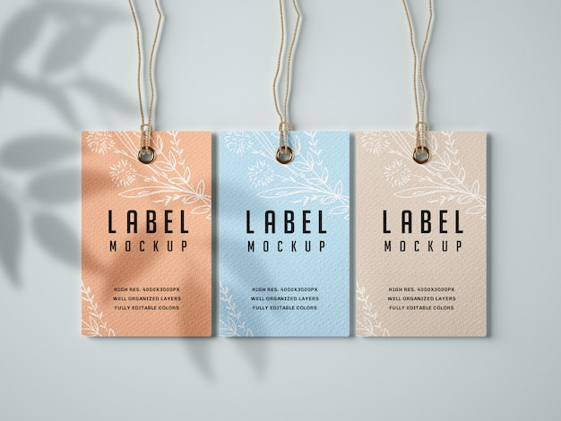 Papieren label mockup set