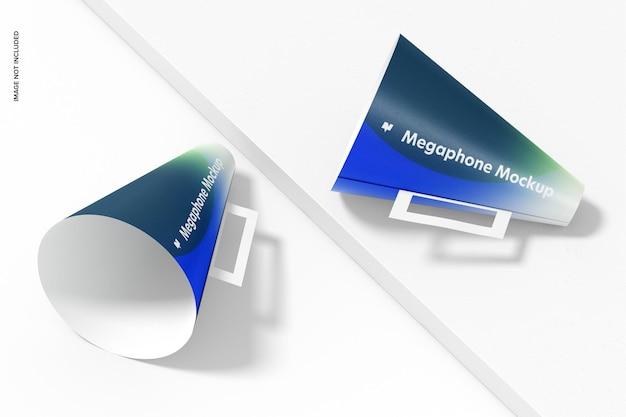 Papieren megafoons mockup, perspectief