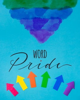Papieren pijlen gay pride mockup