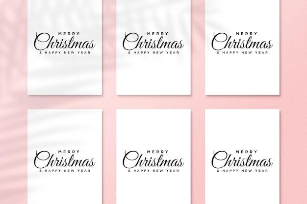Papieren wenskaartmodel met kerstelementen psd met schaduw van palmbladeren