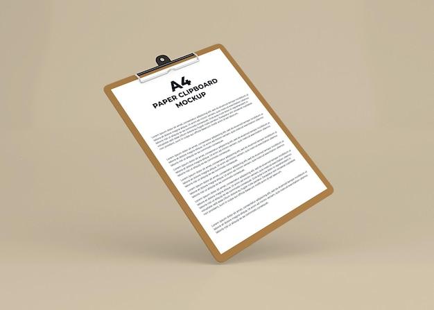 Papierklembord mockup ontwerp in 3d-rendering geïsoleerd