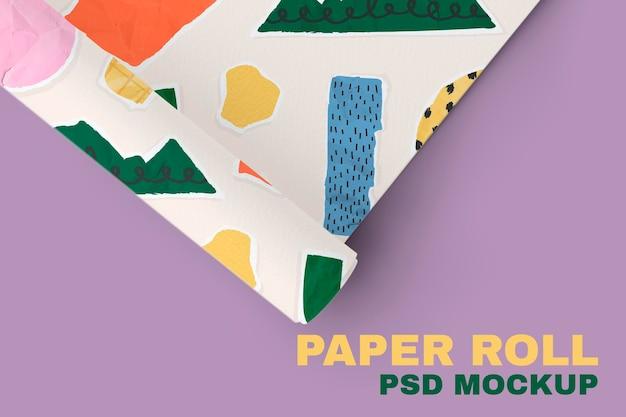 Papierrol mockup psd met collagepatroon van gescheurd papier