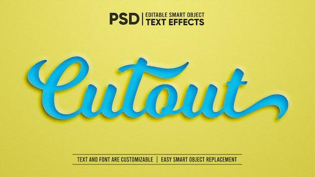 Papieruitsnijding bewerkbaar teksteffect Premium Psd