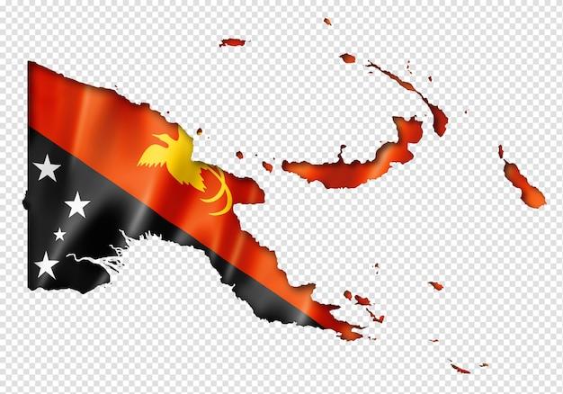 Papoea-nieuw-guinea vlag kaart